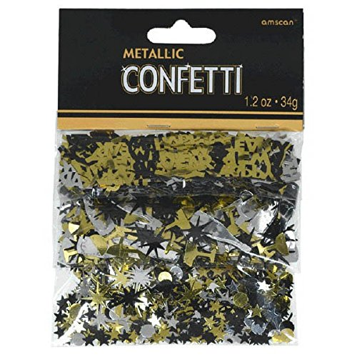 Amscan International 365597 Confetti, Black/Silver/Gold