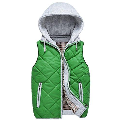 Smarstar Doudoune blouson Gilet à carreau Sans Manche Veste épais en Hiver à capuche amovible-Homme - couleur et taille au choix Vert foncé