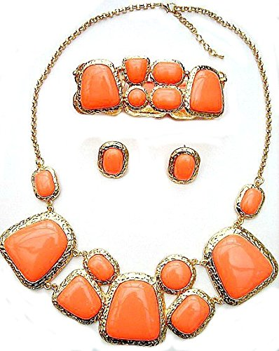 coral-gemstone-statement-necklace-earrings-bracelet-set-rare-costume-jewellery