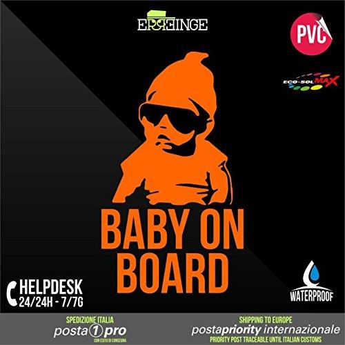 [ERREINGE] STICKER PRE-SPACED ORANGE FLUO 24cm - Baby on Board Bébé à Bord - Autocollant Decal Transfer Vinyle Muraux Laptop Voiture Moto Casque Scooter Camper