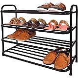 Patelraj Metal Shoe Stand (Jumbo Black, 4 Shelves)