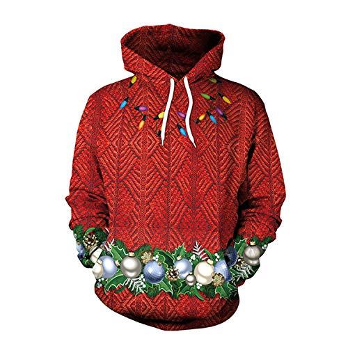 ZYX Unsiex Hässliche Weihnachts Pullover Sweatshirts Weihnachtsbaum, Weihnachts Ball 3D Print Neuheit Xmas Elf Langärmeliges Tshirt Hip Hop Paar M-XXL,XL