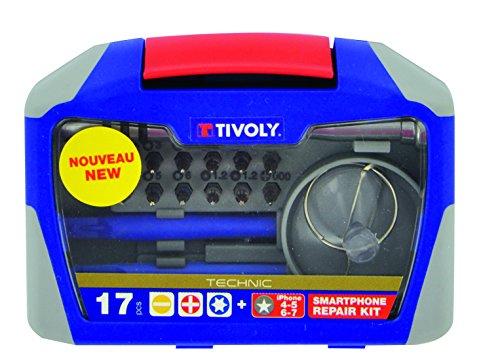 Tivoly 11501570043 Ouverture/Réparation de Smartphone, Gris, Set de 17 Pièces