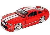 Jada Sonderposten Ford Mustang V 1. Generation Shelby GT-500KR Rot mit Weißen Streifen 2004-2009 1/24 Modell Auto
