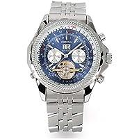 GuTe elegante Orologio da uomo automatico, colore: blu, in acciaio, con quadrante luminoso - Automatico Blu Mens Watch