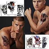 Temporäre Tattoos Verschiedene Stile und Körperkunst Designs – Fake Tattoos für Erwachsene und Jugendliche Tattoos für Arme Beine Schulter oder Rücken (6 Bunte Tattoos)