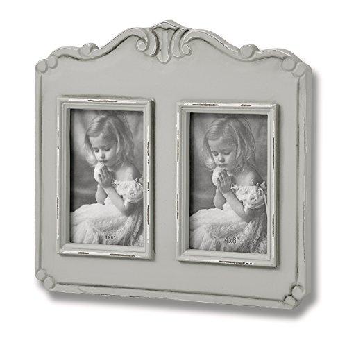 LIH Parisienne - Marco de fotos de madera para pared, diseño de dos cuadros, color gris