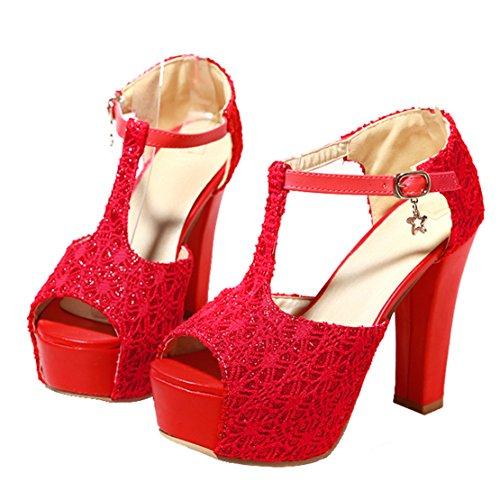 AIYOUMEI Damen Peep Toe T-spangen Knöchelriemchen Sandalen mit Plateau Blockabsatz High Heels Modern Schuhe Rot