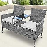 SSITG Polyrattan Gartensofa Gartenbank mit Tisch Sitzbank Tete-a-Tete Bank Gartenmöbel