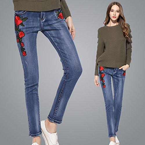 OME&QIUMEI Freizeit Jeans Herbst Feine Rosen Stretch Schlankmacher Hose Lässige Jeans Frau, Blau,