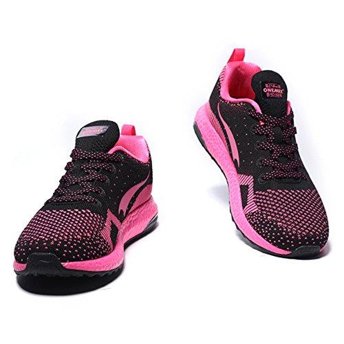 ONEMIX Homme Femme Air Chaussures de course running Sport Compétition Trail Mixte Adulte ete Baskets Basses Black/pink