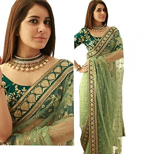 Taboody Empire Women\'s Naylon Net Sequence Work Heavy Embroidered Border Ethnic Saree with Blouse Piece, Free Size (Light Green, Free Size)