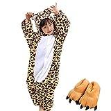 DREAMOWL Junge Tierkostüm Cosplay Leopard Plüsch Pyjamas Attach Paw Schuhe 2-3 Jahre Multi