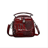 QAZZ School Bag Mini Backpack Crocodile Pattern Vintage Women Backpacks Fashion School Bags for Teenage Girls Small Backpack Lady Shoulder Bags 20Cm 14Cm 20Cm Red