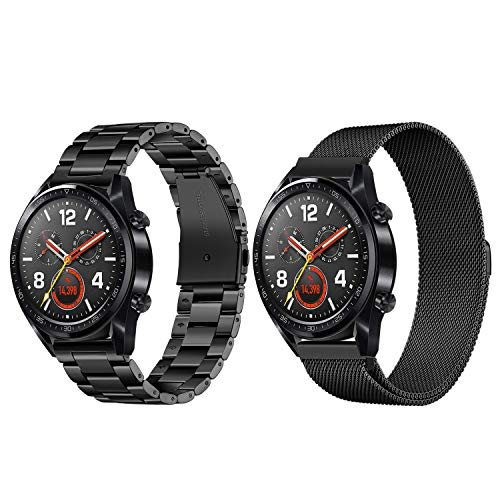 TRUMiRR Für Huawei Watch GT Armband, 22mm Edelstahl Armband & Milanese Magnet Uhrenarmband Ersatzband für Huawei Watch GT/Honor Watch Magic, TicWatch Pro / E2 / S2 (2er Pack)