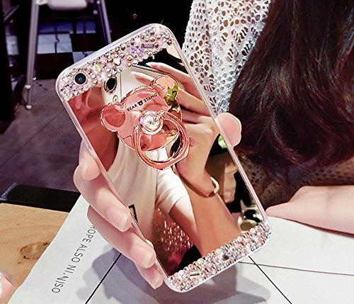Custodia iphone SE, Sunroyal® Creativo Brillante Specchio iphone 5s Case Cover con Built-in Orso Rotazione Grip Ring Supporto Dellanello Morbida Transparente in Silicone TPU Shock-Absorption Bumper M Strass 05