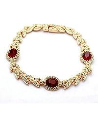 La vivacità Luxury Blatt-Armband mit Swarovski-Kristallen 18 Karat vergoldete High Quality Geschenk für Frauen (Gold Rubin) (Rubin)