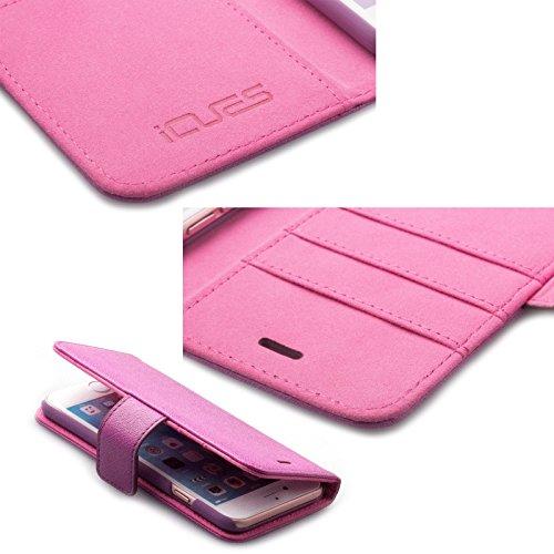 Apple iPhone 6S / 6 (4.7 Zoll) | iCues Maraba Tasche Carbon Blau | Premium Kartenfach Standfunktion Stand Leder - Imitat Book Klapphülle Schutz Etui Handytasche zum aufklappen Flip Case Schutzhülle Bo Hippo Lila