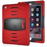 Stoßfeste Hybrid Silikon und Kunststoff Schutzhülle mit Standfunktion und Stylus Displayschutzfolie für iPad Air 2 (iPad 6) - Rot