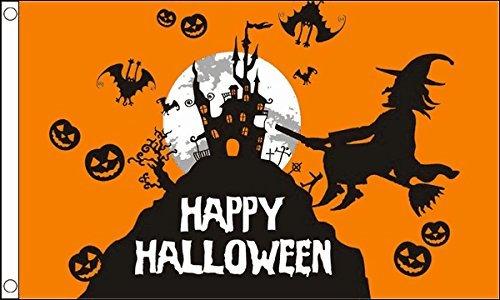 1.52 x meters 0.91 meters (150 cm x 90 cm) und Happy Halloween Pumpkin Orange Material Fahne