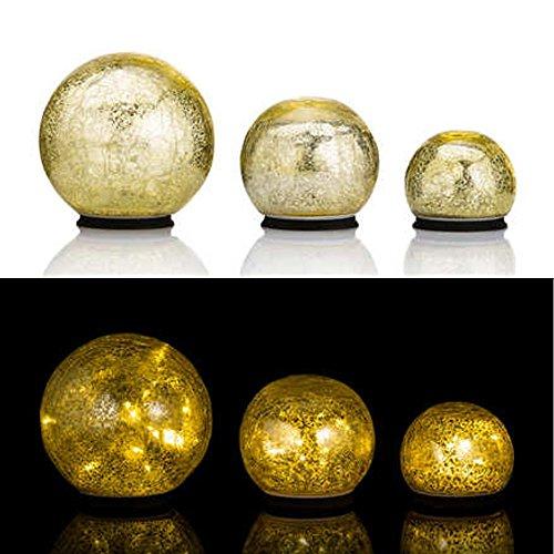 Online-Fuchs 3er SET Glaskugeln mit LED Lichterkette inkl. Timer - In und Outdoor geeignet - Deko Kugeln in Bruchglasoptik - LED Beleuchtung (Gelb)