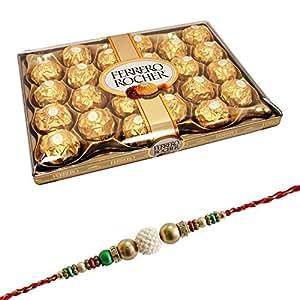 SFU E Com Rakhi for Brother with Ferrero Rocher and Roli Tika for Rakashabandhan