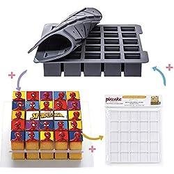 PIXCAKE Moule à gâteaux Cubes + Décor Spiderman + Support à gâteaux, Les ustensiles de Cuisine indispensables pour réaliser des pâtisseries personnalisées