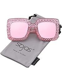 SOJOS Moderne Dicke Rechteckig Sonnenbrille Damen Diamant Groß SJ2053 mit Schwarz Rahmen/Grau Linse iBYKY4