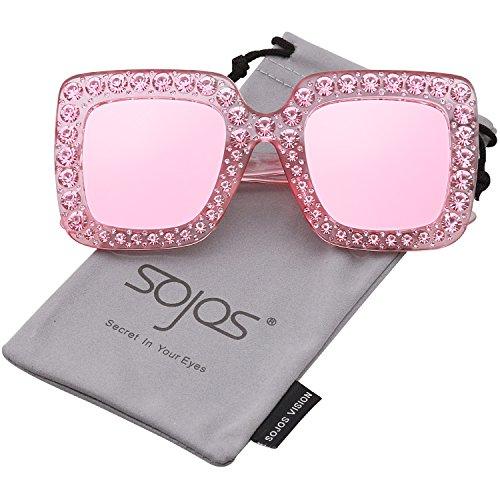 Sojos vogue occhiali da sole donna quadrari oversize cristalli scintillante sj2053 con rosa telaio/rosa specchio lente