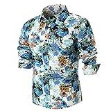 Hffan Herren Retro-Stil Langarm Slim Fit Design Hemden Leinenhemd mit Druckknöpfen Freizeithemden Herren Günstig Mode Freizeit Casual Blumenhemd Blumenmuster Bedruckt(Blau,XXX-Large)