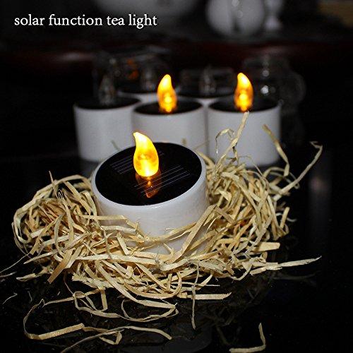 6pcs romántica ámbar amarillo LED solar al aire libre de humo vela electrónica de emisión de luz de la vela solar