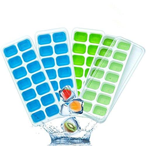 4Pcs Eis Eiswürfel Gefrorene Cube Covered Ice Tablett Set mit 14 Eiswürfelformen Flexible stapelbar Bar Pudding Silikon Tablett Schimmel Formwerkzeug Werkzeug - Sie Unten Nach Biegen Edelstahl