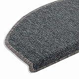 casa pura Hochwertige Stufenmatten | Attraktiver Stufenschutz für Ihre Treppe | Matten für rutschsichere Treppenaufgänge | 15 Stück | Hellgrau