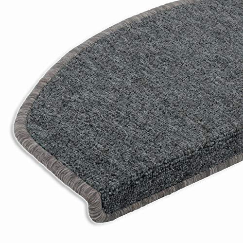 casa pura® hochwertige Stufenmatten für attraktive & rutschsichere Treppenaufgänge   15 Stück   hellgrau