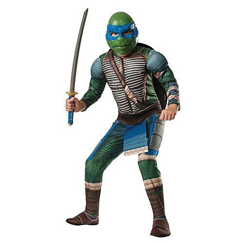 Ninja Turtles Leonardo Deluxe Kostüm für Kinder mit Polsterungen (128-134) (Turtle Kostüm Ninja Deluxe,)