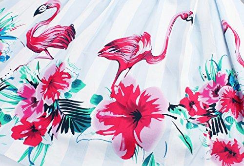 Kleider Damen A-Line Vintage 1950er Gestickt Cocktailkleid Ärmellos Retro Abendkleid Schwingen Pinup Rockabilly Kleid Große Größen Partykleid Flamingo