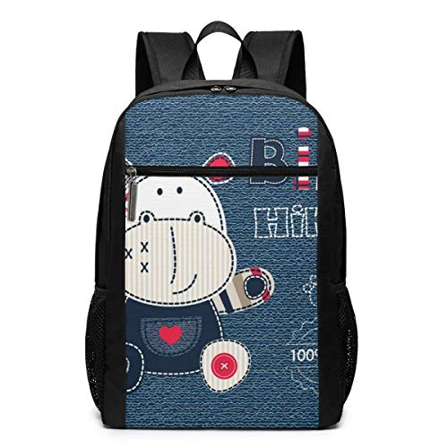 TRFashion Rucksack Jeans with Cute Hippo Converted Unisex Laptop BackpackBusiness Travel Computer Bag Backpack Classic Lightweight Resistant Backpack 17 Inch Schoolbag Book Bag for Men Women Black Betsey Johnson Jeans