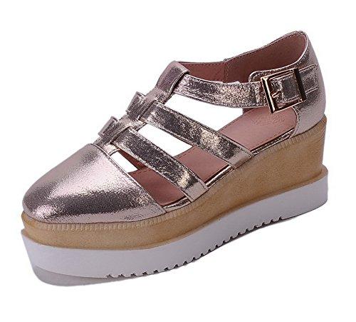 AgooLar Femme Couleur Unie Pu Cuir à Talon Correct Carré Boucle Chaussures Légeres Doré