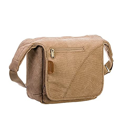 PhotoSEL Canvas Camera Shoulder Sling Bag with Rain Cover for