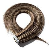 Extension Capelli Veri Adesive 20 Fasce 40g/Set 100% Remy Human Hair Lisci Umani - Tape in Hair Extension Allungamento con Biadesivo (35cm #4/27 Cioccolato mix Biondo Scuro)