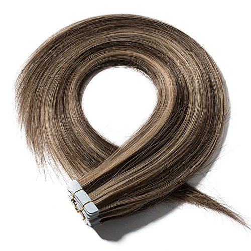 Extension capelli veri adesive 20 fasce 40g/set 100% remy human hair lisci umani - tape in hair extension allungamento con biadesivo (35cm #4/27 cioccolato mix biondo scuro)