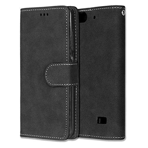 Chreey Huawei Honor 4C/G Play Mini Hülle, Matt Leder Tasche Retro Handyhülle Magnet Flip Case mit Kartenfach Geldbörse Schutzhülle Etui [Schwarz]