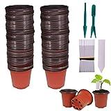 Huvai 100pz 10,2cm plastica vasi di piante piantine nursery con 100pezzi di plastica impermeabile vegetali tag e 2PCS/set trapianto scavare mini Tools