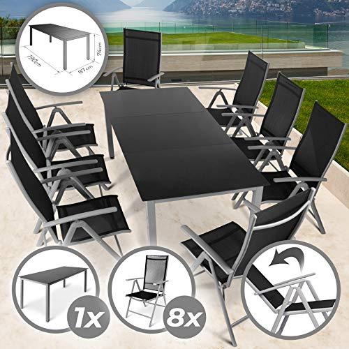 8+1 Sitzgarnitur | 9-teiliges Set, 190 x 87 cm Tisch mit Glasplatte und 8 Stühle aus Aluminium in Hellgrau | Hochlehner Gartengarnitur, Sitzgruppe, Terrassenmöbel, Gartenmöbel, Balkonmöbel