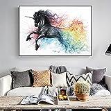 Hermoso Caballo Negro Lienzo Pintura al óleo Animales Abstractos Arte de la Pared imágenes s para la decoración de la habitación del hogar 50x70 cm sin Marco