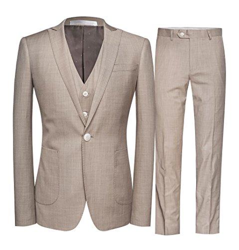 Slim Fit 3 Teilig Herren Anzug Smokingsakko Herrenanzug für Hochzeit Business