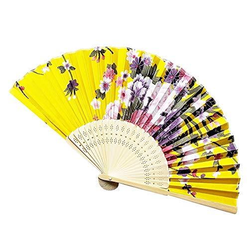 ZGDPLZS Faltfächer Sommer Vintage Bambus Falten Hand Blume Fan Dance Party Tasche Geschenke Party Hochzeit Fan, Navy