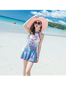 HAIYOUVK Couples Swimwear Comfortable Male Beach Pants Conservative Slimming Concealed Skirt One-Piece Skirt Steel...