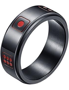 HIJONES Herren Edelstahl Glück Drehbar Würfel Ring Band 8Mm Gold Silber Schwarz