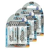 ANSMANN Mono D Akku Typ 10000  hochkapazitive Profi NiMH Monozelle für Digital Foto Akkubatterie 6er Pack